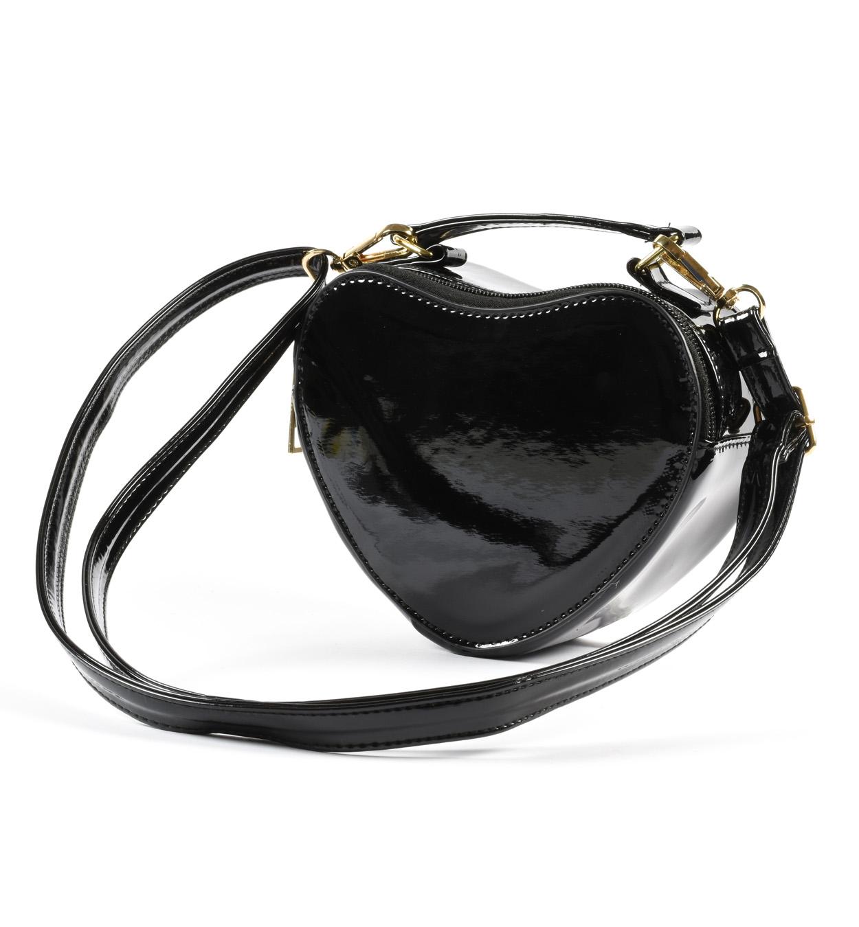 Szív alakú fekete táska