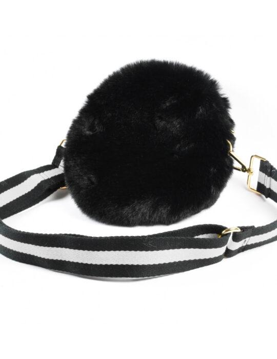 Fekete szőrös táska