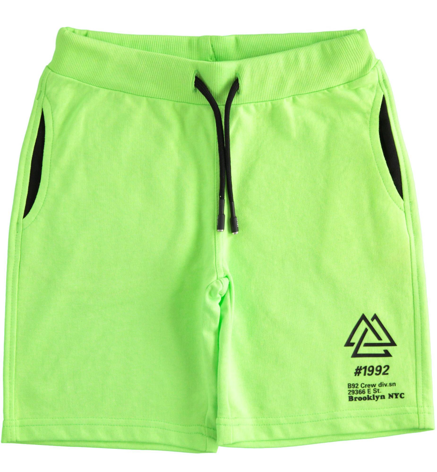 Neonzöld pamut bermuda nadrág fiúknak