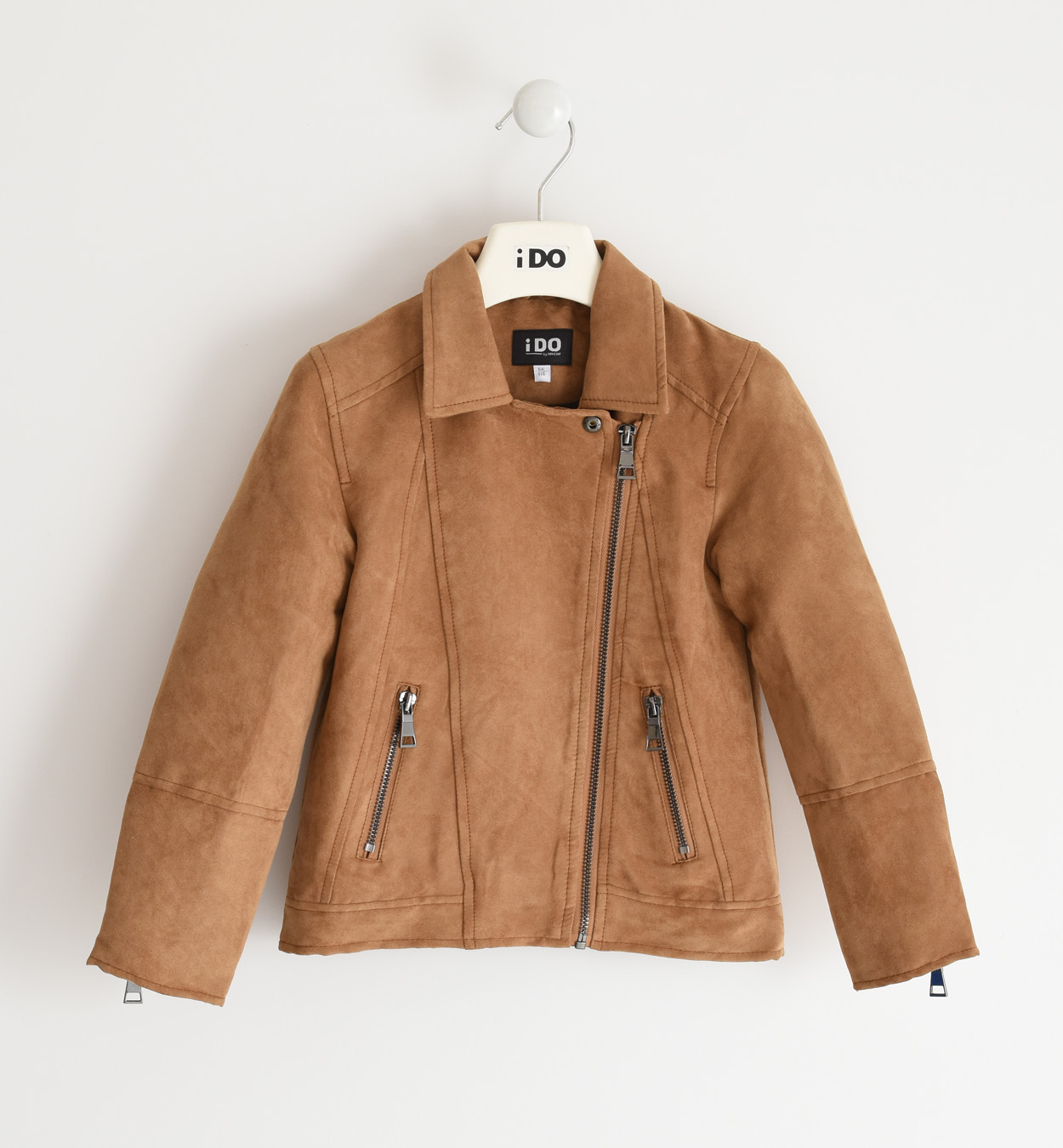 Velúr hatású barna kislány kabát
