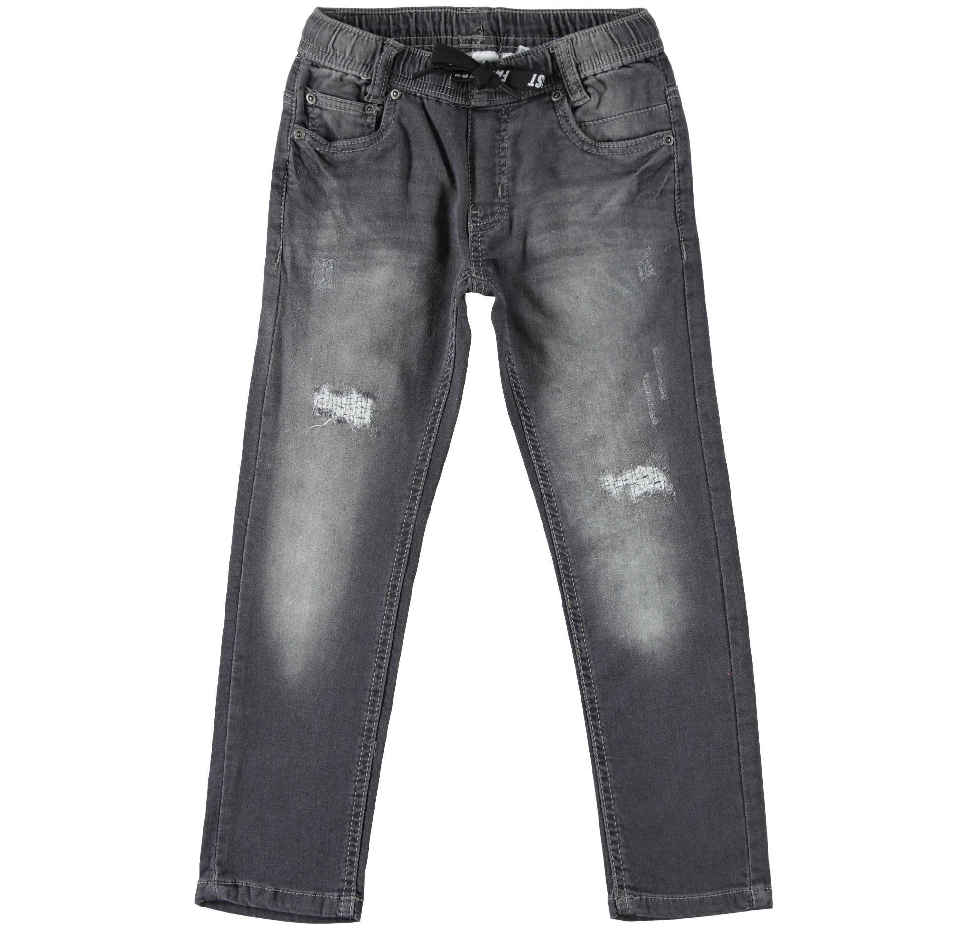 Gumis derekú farmer hatású pamut szürke nadrág
