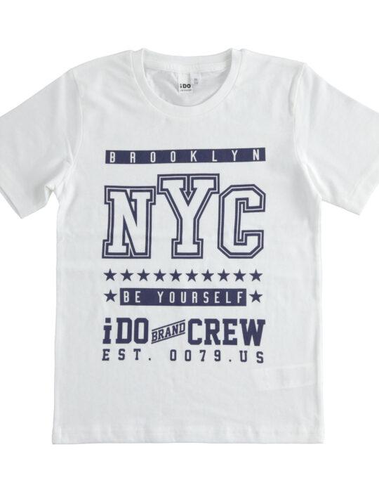 Fehér mintás pamut póló fiúknak