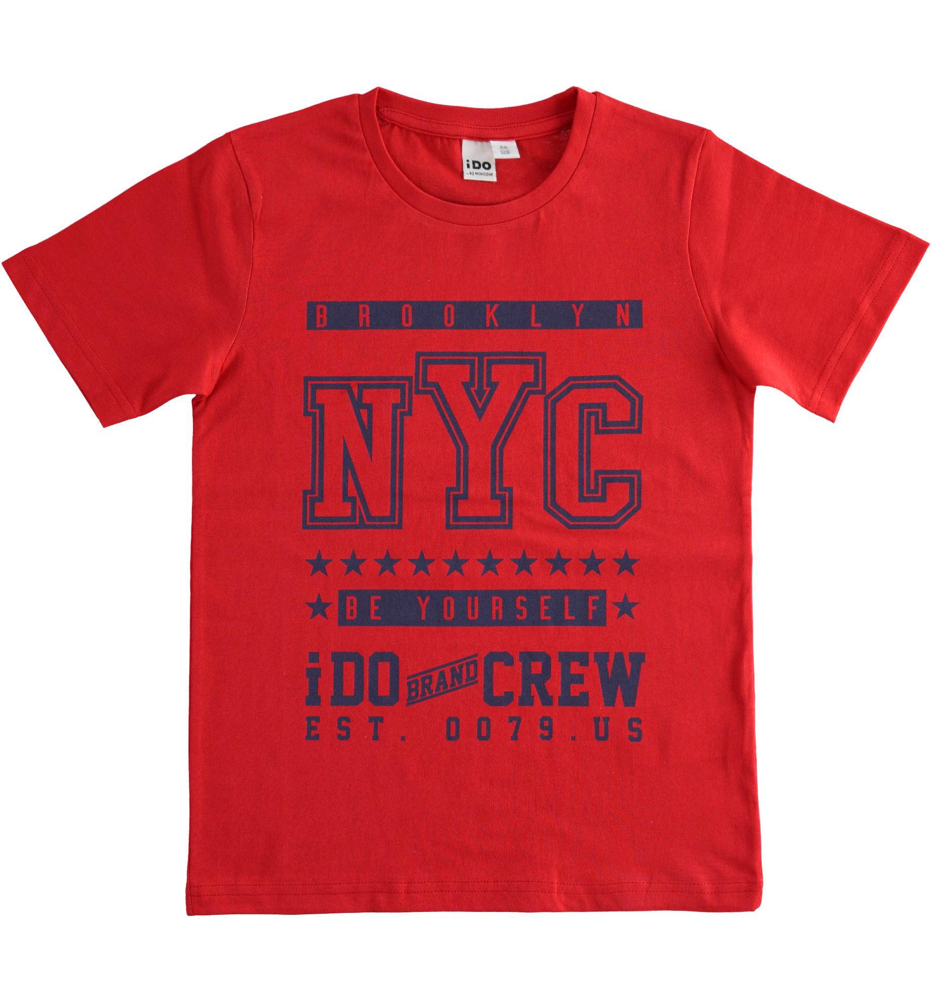 piros mintás pamut póló fiúknak
