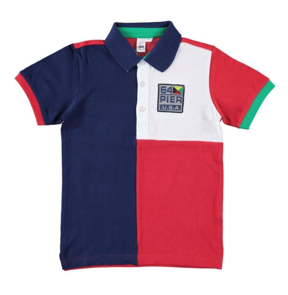 Piros-kék galléros fiú póló