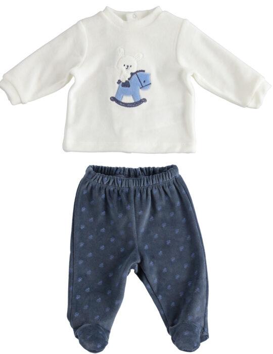 Kisfiú puha pamut lovacskás kék fehér szett