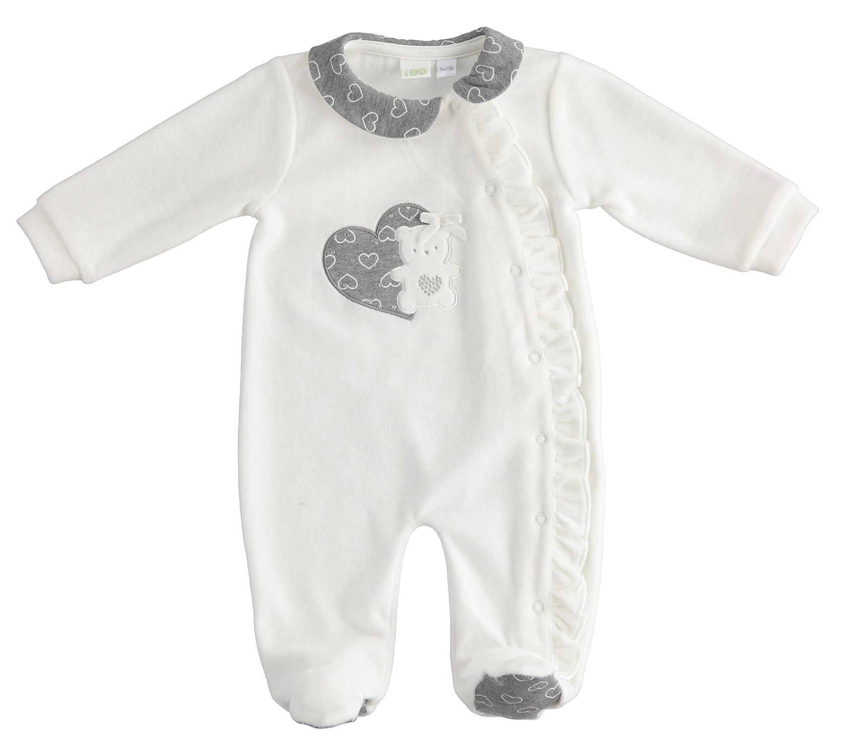 Szürke-fehér kislány újszülött rugdalózó