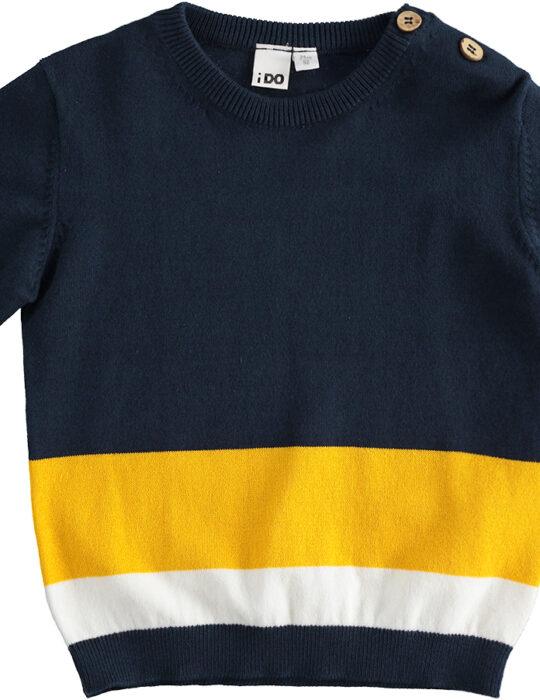 Kék-sárga belebújós kötött pulóver kisfiúknak