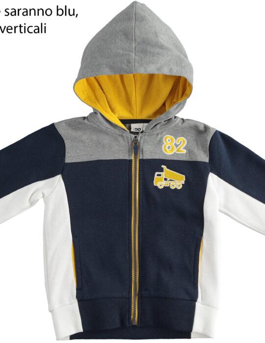 Kék-sárga kapucnis cipzáros pulóver