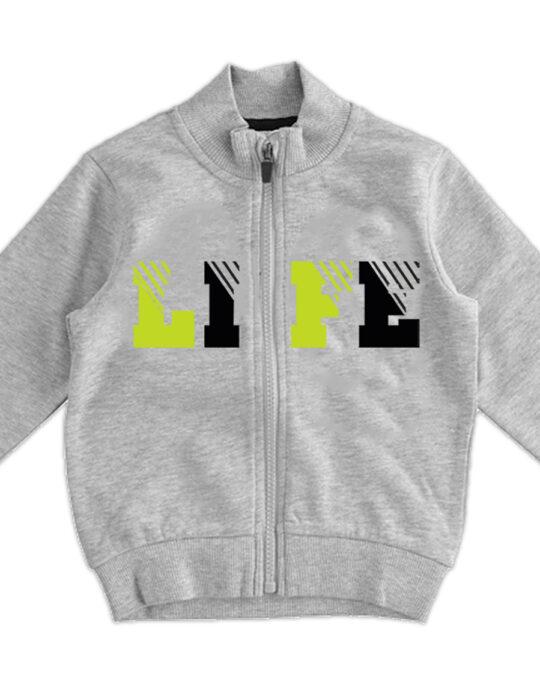 Szürke cipzáros kisfiú pulóver