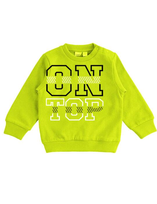 Zöld belebújós kisfiú pulóver