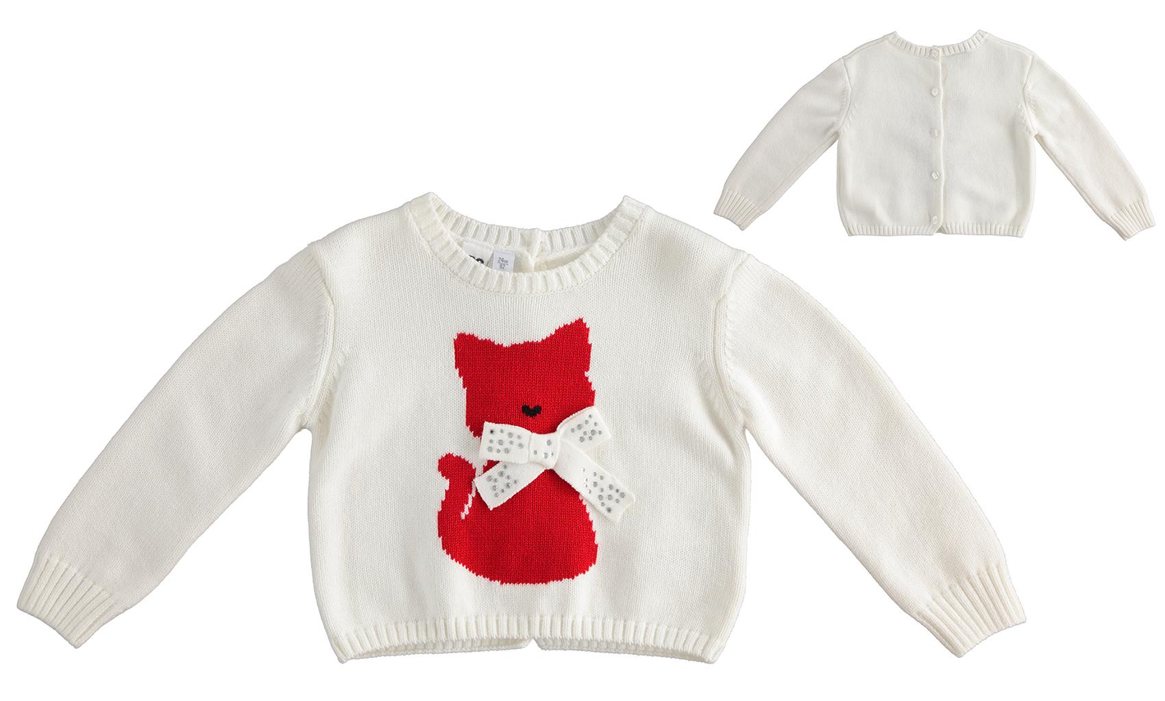 Piros cicás kötött pulóver kislányoknak