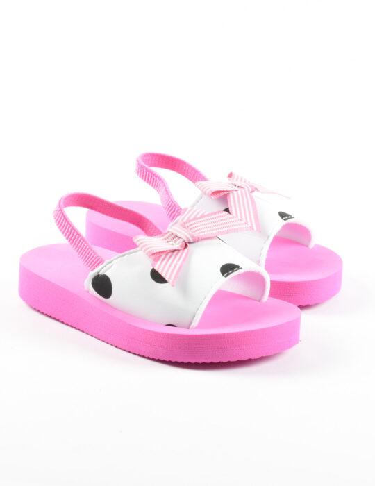Rózsaszín pöttyös szandál kislányoknak